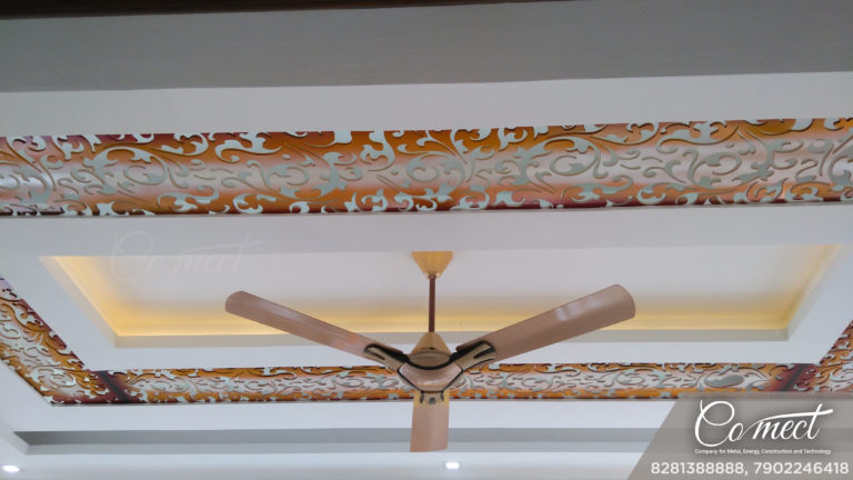 colorful gypsum ceiling and wall design with ambient lighting